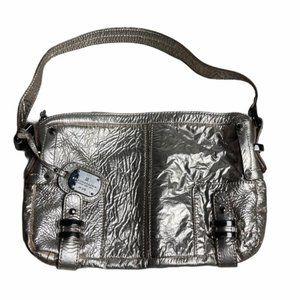 BCBGMAXAZRIA Rose Gold Foil Leather Shoulder Bag